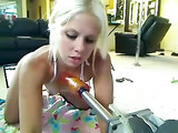 Sweet Blonde Girl Does Anal Sex with Anal Fucking Machine