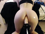 Too Horny Girl Tries Anal Sex with a Big Dildo Cock
